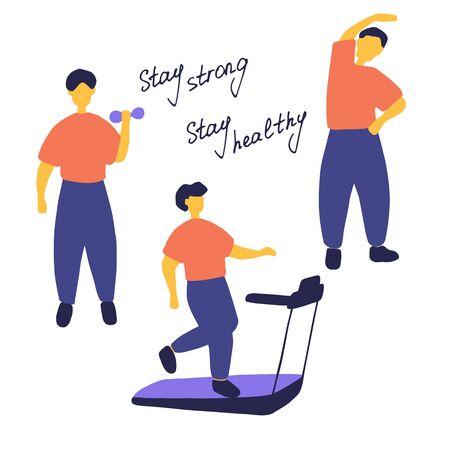 Man doing different sport exercises. Male training, workout concept. Doodle flat vector illustration