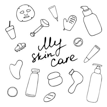 My skin care. Cosmetic products and accessories. Beauty icons for digital and print. Hand drawn vector graphic Illustration