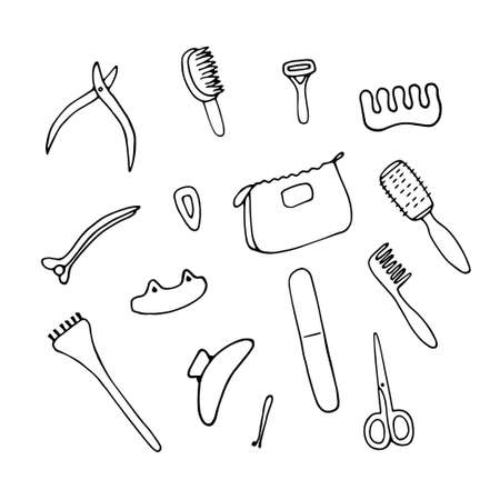Beauty salon accessories and equipment. Woman accessory icon set. Objects for skin, hair, nail care. Hand drawn linear vector illustration Stock fotó - 150578556