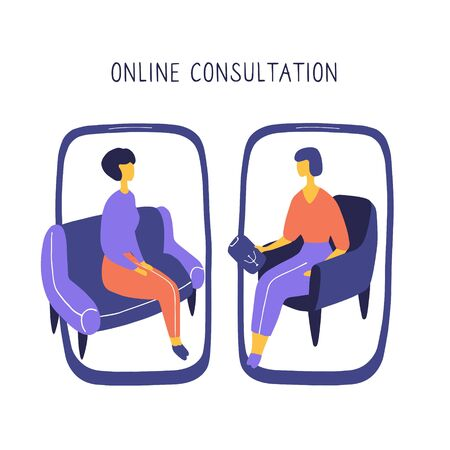 Woman at the psychologist online session. Doctor consultation by phone. Video call to psychiatrist. Online psychological therapy. Hand drawn doodle vector graphic.