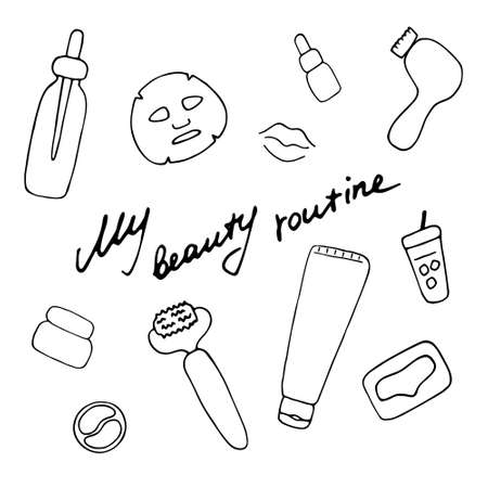 My beauty routine. Cosmetic products and accessories. Beauty icons for digital and print. Hand drawn vector graphic.