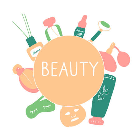 Beauty salon. Skin care elements, cosmetics products, beauty tools. Vector flat hand drawn illustration.