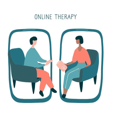 Man at the psychologist online session. Doctor consultation by phone. Video call to psychiatrist. Online psychological therapy. Hand drawn vector graphic.