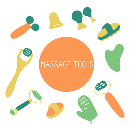 Massage tools. Massagers for face and body. Equipment for drainage, skin tightening lifting and health. Anti-cellulite brushes, massage rollers and gua sha scraper. Hand drawn flat illustration. Illusztráció