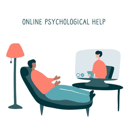 Man lies on couch and pours out his soul to psychologist through video communication. Online psychotherapy practice. Remote psychological help, psychiatrist consulting patient. Mental health care and treatment.