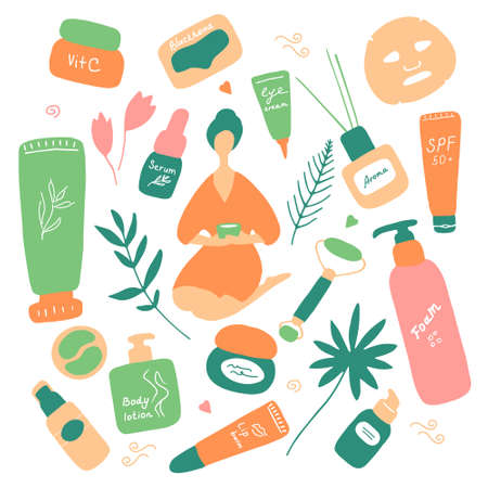Big beauty set. Skin care and beauty signs, spa salon and self-care icons. Vector flat hand drawn illustration. Illustration