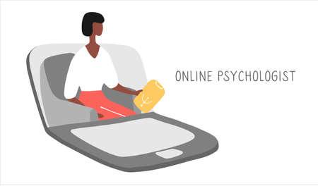 Online psychotherapy practice. Remote psychological help, psychiatrist consulting patient. Mental health care and treatment. Hand drawn vector illustration. Vektoros illusztráció