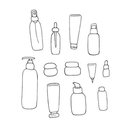 Cosmetic packs set. Woman beauty products sketch collection. Face and body care products. Doodle linear vector graphic. 向量圖像