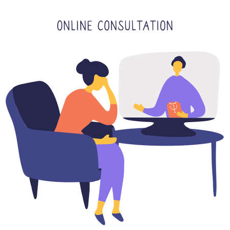 Woman sitting in chair in front of computer and talking to psychologist online. Remote psychological help, psychiatrist consulting patient. Mental health care and treatment. Hand drawn vector illustration 일러스트