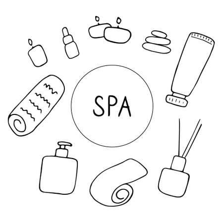 SPA and beauty salon. Cute skin care icons. Hand drawn vector illustration. Ilustração