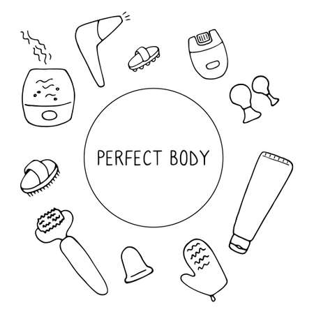 Perfect body. Devices for skin and body care. Things for beauty and skin health. Linear hand drawn vector illustration. Vectores