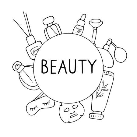 Beauty salon. Skin care elements, cosmetics products, beauty tools. Vector hand drawn illustration.