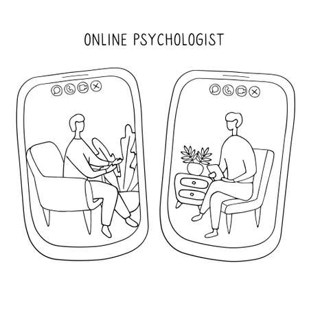 Doctor and patient communicate by video call. Online psychiatrist concept. Two people on screens of smartphones are talking to each other. Hand drawn vector illustration.