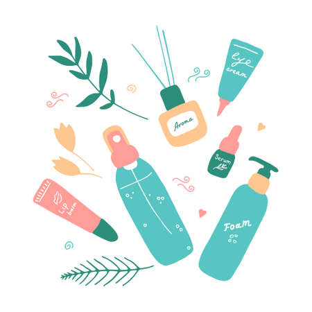Cute girlish beauty poster with cosmetics and tools. Skin care produsts. Doodle hand drawn elements. Vector flat illustration.