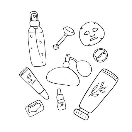 Skin care. Cosmetic products and accessories. Beauty icons for digital and print. Cute hand drawn vector graphic.
