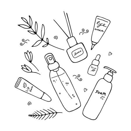 Cute girlish beauty poster with cosmetics and tools. Skin care produsts. Doodle hand drawn elements. Vector illustration.