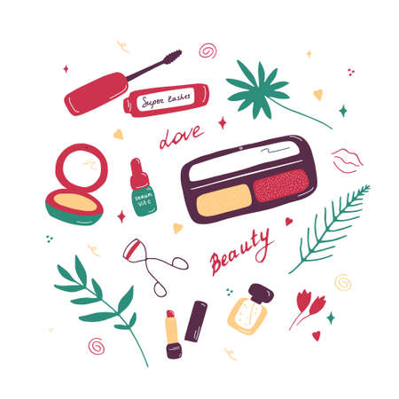 Makeup and cosmetics background. Background with makeup elements and flowers. Visage tools banner, poster for digital and print. Hand drawn flat doodle vector illustration.