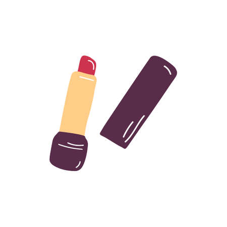 Single Lipstick sketch vector illustration. Simple cosmetics icon. Lip gloss sign. Hand drawn flat doodle graphic.