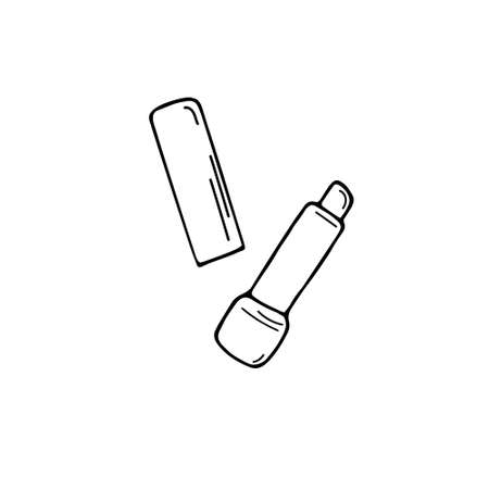 Single Lipstick sketch vector illustration. Simple cosmetics icon. Lip gloss sign. Hand drawn doodle graphic.