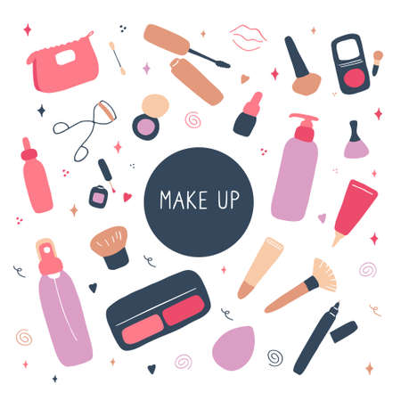 Cute make up and skin care icons. Products and accessoires for beauty. Simple womans signs set. Visage elements. Hand drawn flat vector graphic 向量圖像