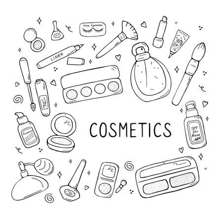 Makeup artist and beauty salon professional kit collection. Beauty sketch background. Illustration of cosmetic and fashion. Hand drawn doodle vector.
