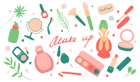 Make up and beauty symbols icon set. Female collection of different products accessoires for skin care and visage. Hand drawn flat vector illustration.