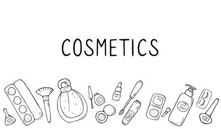 Set of makeup icons. Cosmetic products and accessories sketch. Fashion makeup banner. Simple cute beauty elements. Hand drawn doodle vector illustration. 向量圖像