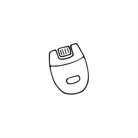 Epilator icon. Beauty device for hair remove. Hand drawn doodle vector graphic.