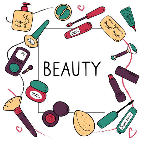 Beauty poster. Cosmetics, skin care concept for card, banner, book, catalog, print, web. Different cosmetics makeup products and copy space. Modern flat vector illustration.