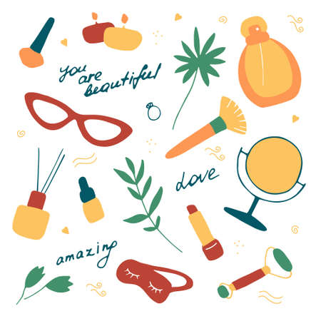 Woman set. Beauty accessories and cosmetic products. Skin care collection. You are beautiful and amazing. Hand drawn flat vector graphic.