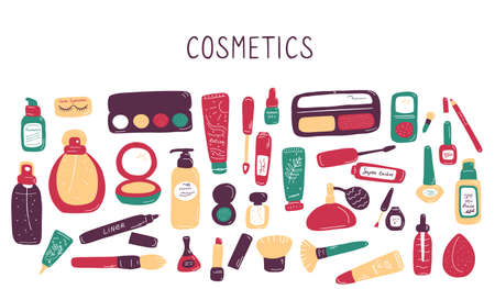 Visage set. Makeup and beauty elements. Skin Care Cosmetics and Decorations. Hand drawn doodle vector illustration.