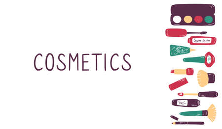 Make up and beauty symbols icon set. Female collection of different products accessoires for skin care and visage. Hand drawn flat vector illustration. 向量圖像