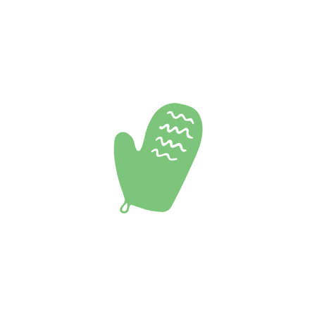 Massage glove icon. Exfoliating scrub mitt. Spa and bath concept. Doodle flat vector illustration.