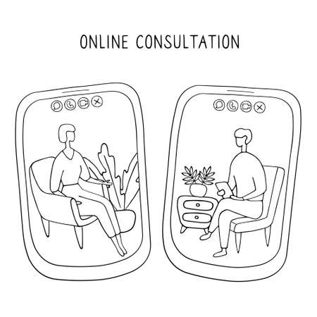 Woman at the psychologist online session. Doctor consultation by phone. Video call to psychiatrist. Online psychological therapy. Hand drawn doodle vector graphic. Illustration