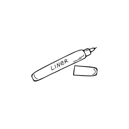 Single Sketch Eyeliner, eyebrow icon. Pencil for eyes. Make up cosmetics sign. Hand drawn doodle vector Illustration.