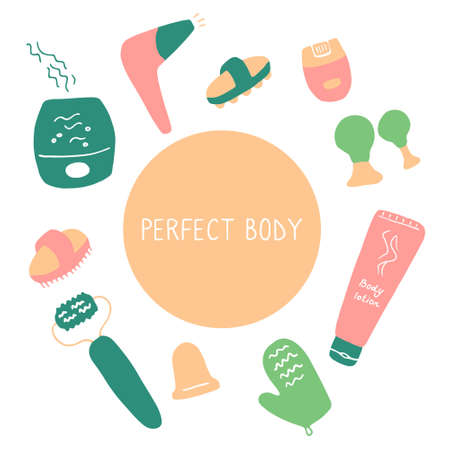 Perfect body. Devices for skin and body care. Things for beauty and skin health. Flat hand drawn vector illustration.