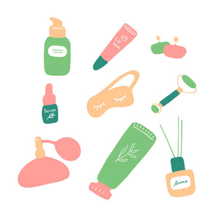 Skin care. Cosmetic products and accessories. Beauty icons for digital and print. Cute hand drawn flat vector graphic.