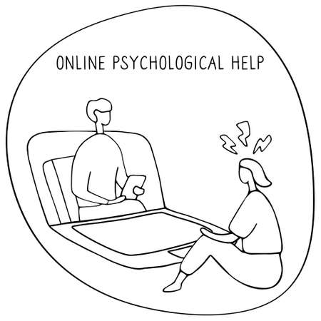 Woman at the psychologist online session. Doctor consultation by phone. Video call to psychiatrist. Online psychological therapy. Hand drawn doodle vector graphic. Иллюстрация