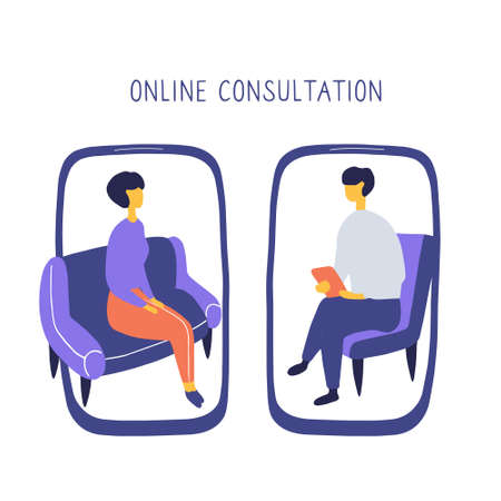 Woman at the psychologist online session. Doctor consultation by phone. Video call to psychiatrist. Online psychological therapy. Flat drawn doodle vector graphic.