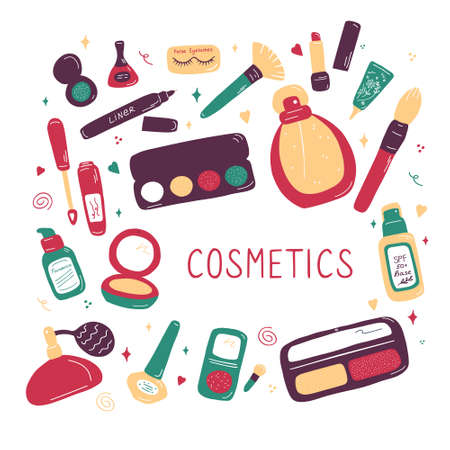 Makeup artist and beauty salon professional kit collection. Beauty sketch background. Illustration of cosmetic and fashion. Hand drawn flat doodle vector. 向量圖像