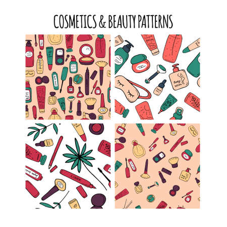 Cosmetics and beauty patterns. Make up and skin care textures. Backgrounds for print and web. Cute cosmetics products and accessories. Vector illustration. 向量圖像