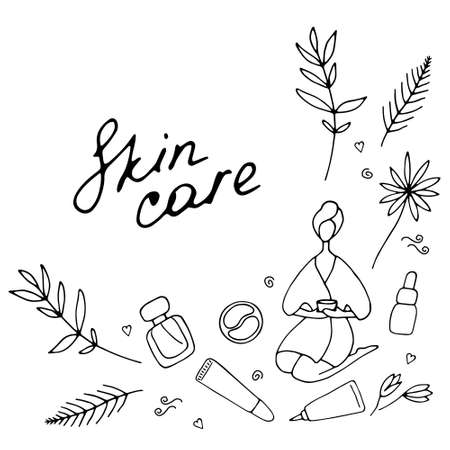 Skin care and beauty concept. Template for salon and SPA. Cute hand drawn beauty icons. Vector illustration. 向量圖像
