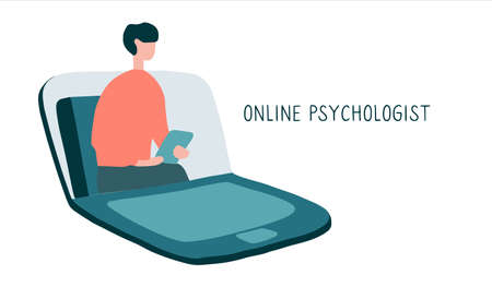 Online psychotherapy practice. Remote psychological help, psychiatrist consulting patient. Mental health care and treatment. Hand drawn vector illustration.