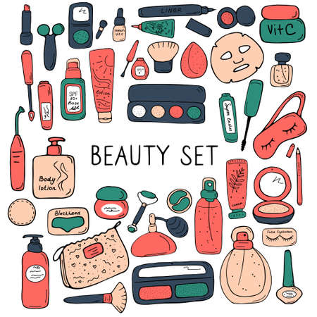 Beauty set for card, poster, banner, sticker, catalog, book. Make up and skin care products for cosmetic store, online shop. Cute icons for print and web. Vector illustration.