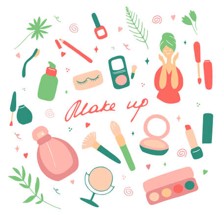 Make up and beauty symbols icon set. Female collection of different products accessoires for skin care and visage. Hand drawn vector illustration.