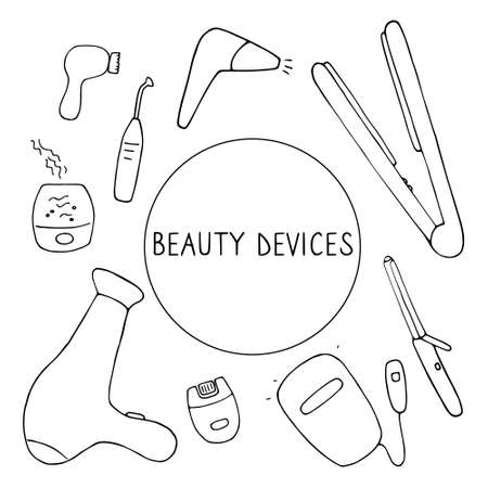 Beauty devices. Skin and hair care techniques. Hand drawn vector illustration.