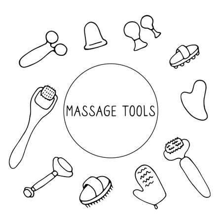 Massage tools. Massagers for face and body. Equipment for drainage, skin tightening lifting and health. Anti-cellulite brushes, massage rollers and gua sha scraper. Hand drawn illustration.