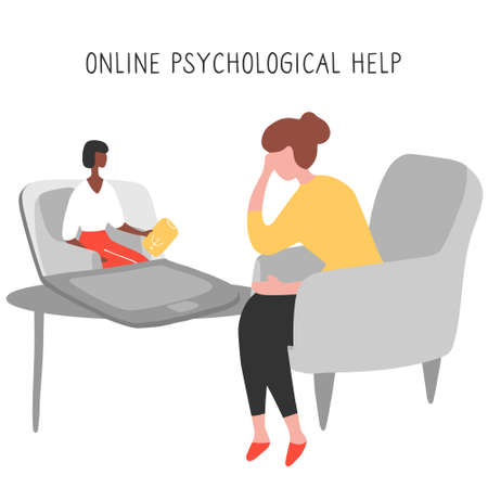Internet psychologist. Patient discusses problems online with therapist. Mental health adviser leads reception video call. Psychologist coach holds an online session on the internet. Vector.