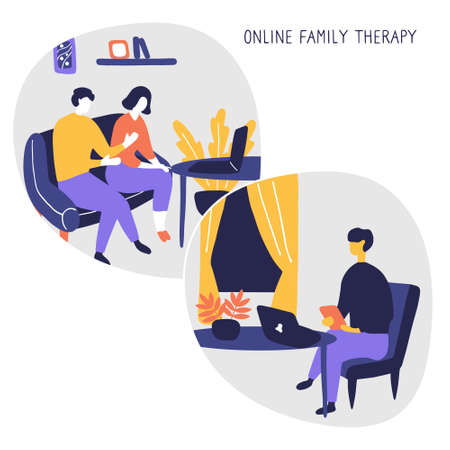 Family Psychologist. Online counseling for couple. Patients at psychological consultation. Flat vector illustration.