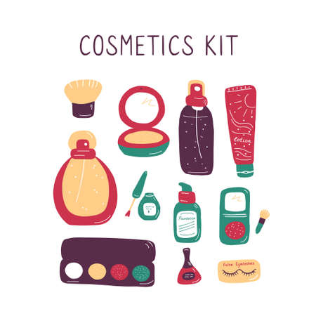 Set of makeup icons. Cosmetic products and accessories sketch. Fashion makeup banner. Simple cute beauty elements. Hand drawn flat doodle vector illustration. 向量圖像